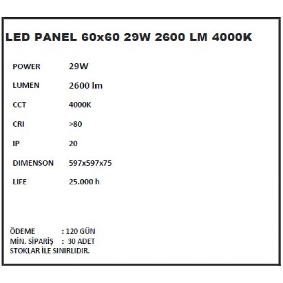 40W Sıva Altı/Taş Yünü İçin Panel Armatür 60x60 Philips - 4000K Gün Işığı